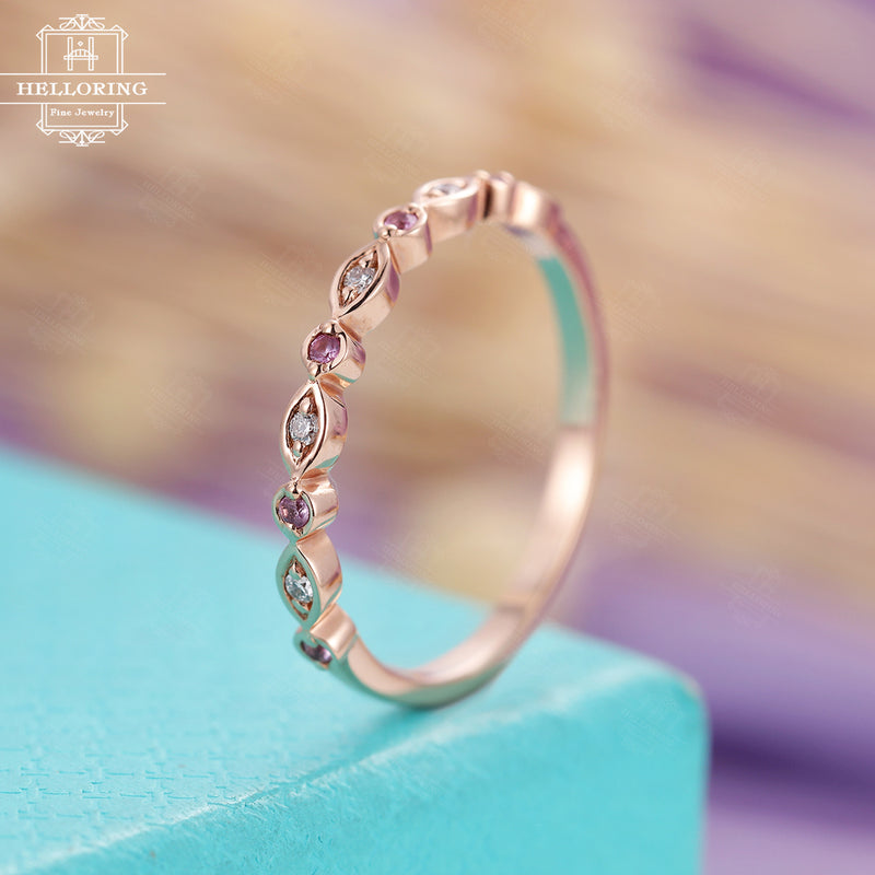 Pink Sapphire Wedding Band Rose Gold Art Deco Antique Diamond Unique Half Eternity Bridal Set Women Matching Stacking Promise gift for her