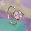 Solitaire engagement ring for women with a pear shaped rose quartz in white gold Unique Jewelry Promise Simple ring Anniversary gift for her