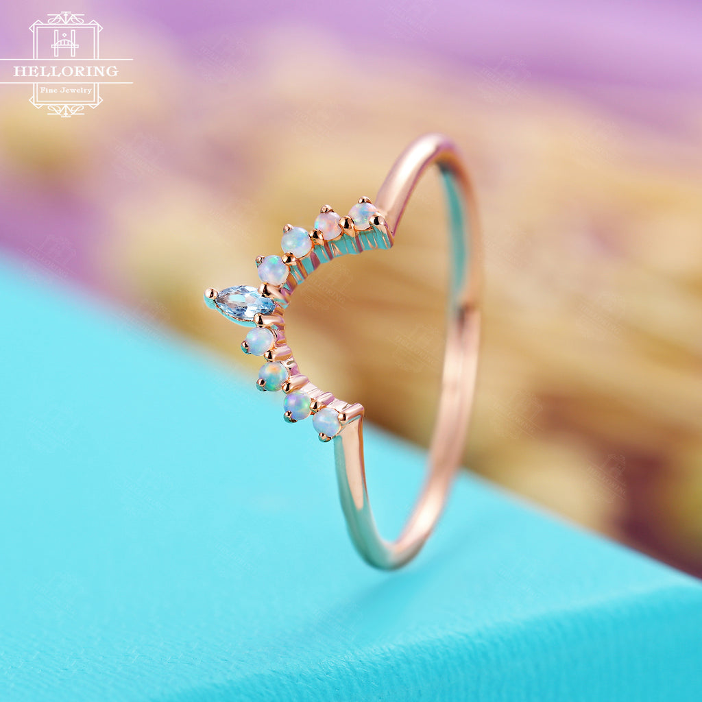 Curved wedding band Rose gold with marquise cut London blue topaz and Round opal Matching Stacking jewelry for Women Unique Anniversary gift