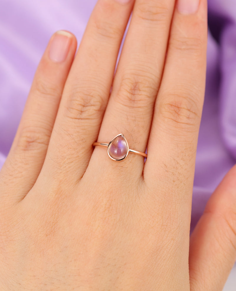 3pcs Pear Shaped Moonstone Engagement Ring, 14k rose gold and size 4, Diamond Bridal set Jewelry Anniversary gift for her