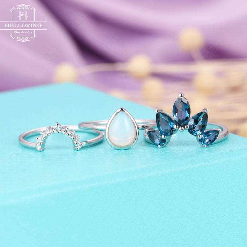 Opal engagement ring White gold Marquise London blue topaz Diamond wedding band Women Pear Unique Curved Bridal set Jewelry Anniversary gift