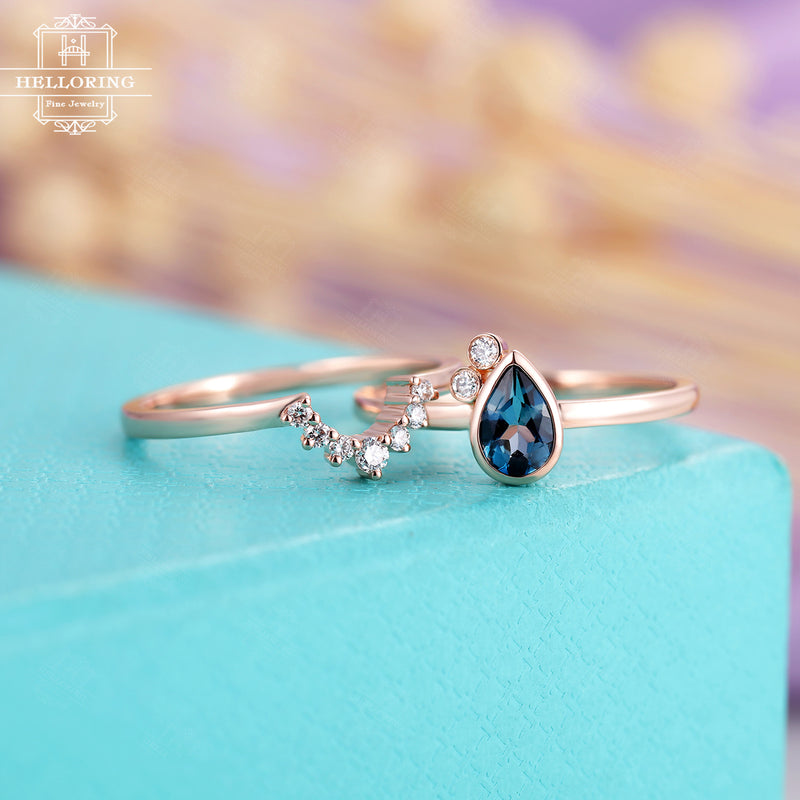 London blue topaz engagement ring Rose gold Diamond wedding band Women Pear shaped Curved Vintage Unique Bridal set Jewelry Anniversary gift
