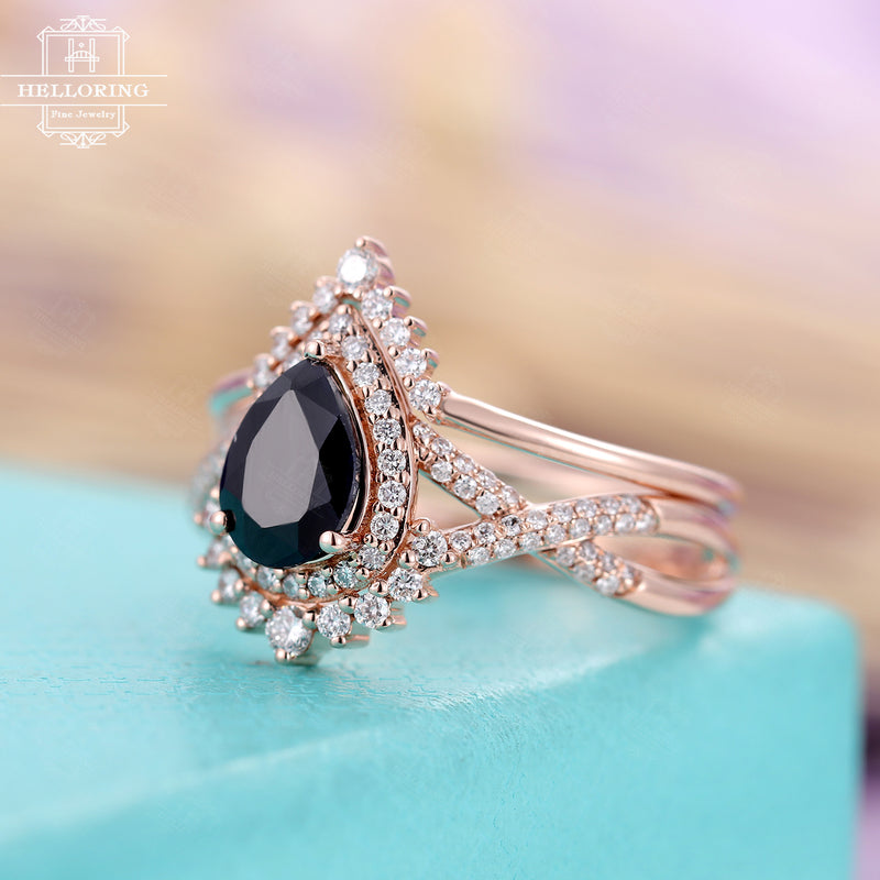 Vintage Black sapphire engagement ring set, Pear shaped, moissanite curved wedding band