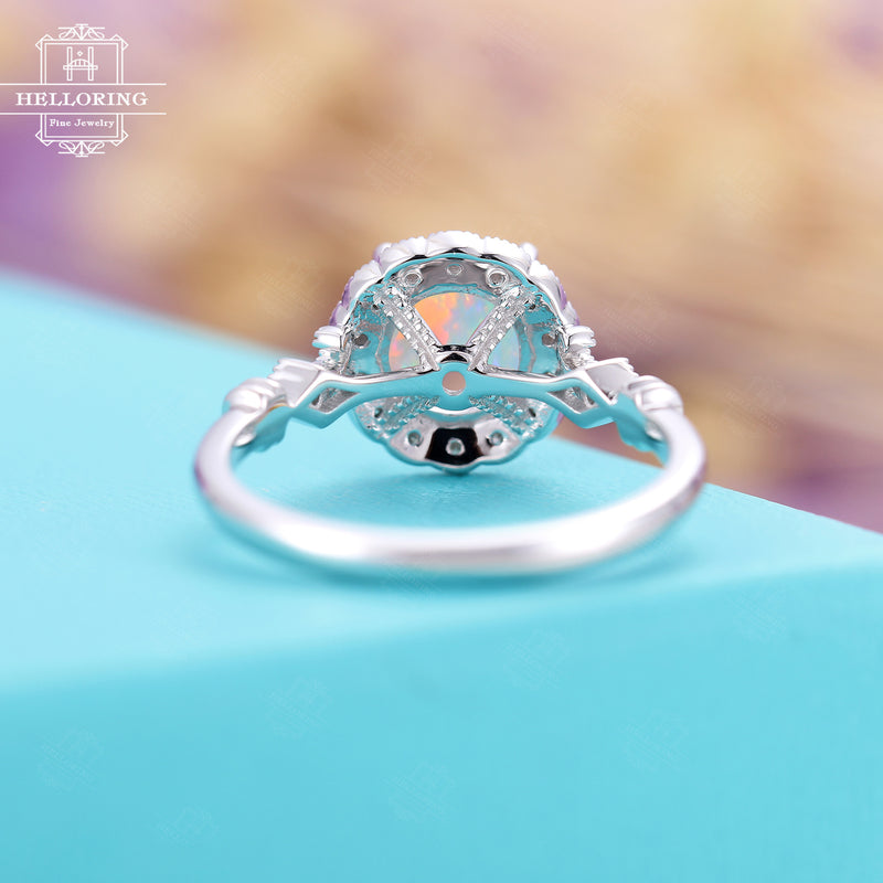 Vintage Opal Engagement ring White gold Women,unique floral wedding ring Halo diamond, milgrain bridal jewelryAnniversary Gifts for her