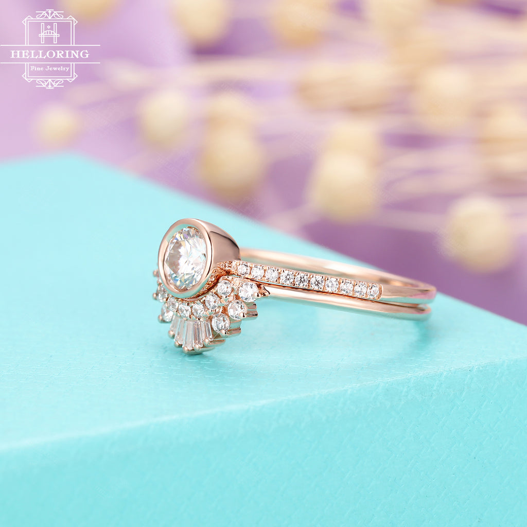 Moissanite engagement ring set Women, rose gold,Curved Baguette Diamond ring,Unique Vintage wedding Jewelry Anniversary gifts for her