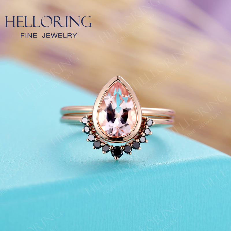 Pear shaped Morganite engagement ring set rose gold Curved wedding band Women Black diamond Unique jewelry Anniversary gift for her