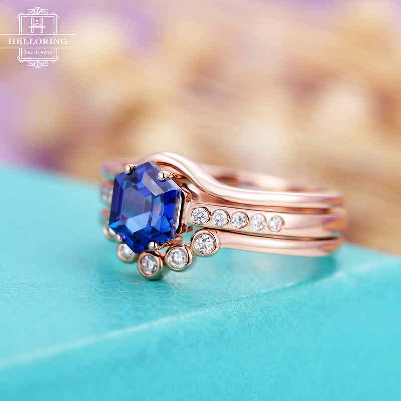 Unique engagement ring Sapphire Curved diamond wedding band Plain gold ring Vintage Antique Bridal set Gift for women Jewelry Anniversary