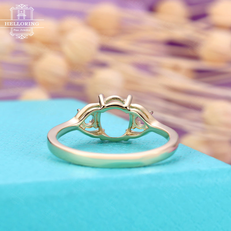 Vintage Engagement Ring Setting yellow gold Semi mount Women Personalized Custom Antique Claw Prong Art deco Round cut stone