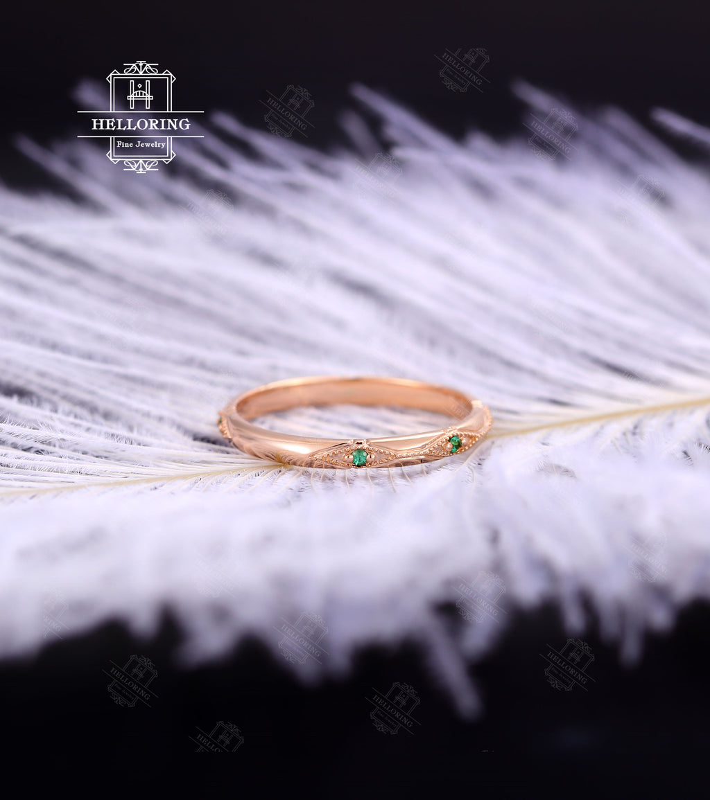 Vintage Emerald wedding band Rose Gold for Women