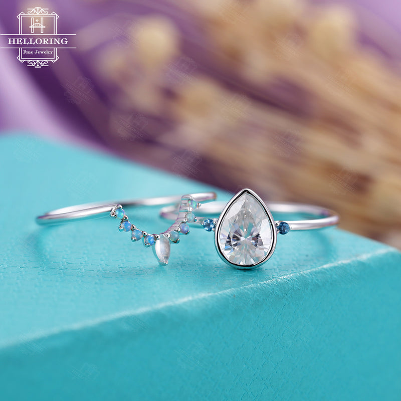 Moissanite engagement ring set, white gold, opal moonstone wedding band women, Pear shaped, bridal Jewelry Anniversary gift, Promise ring