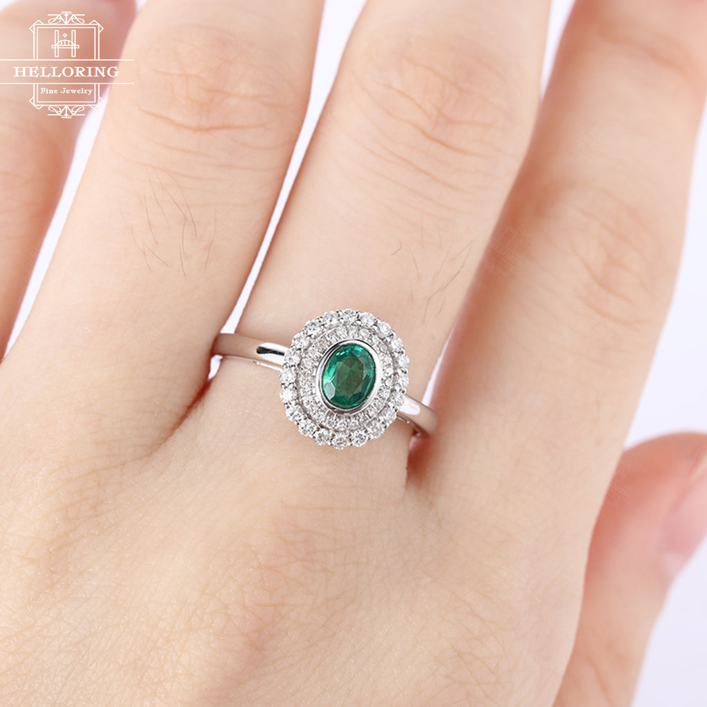 Emerald engagment ring vintage women Cluster diamond wedding ring antique act deco Flower Bridal set Jewelry Christmas gift Anniversary