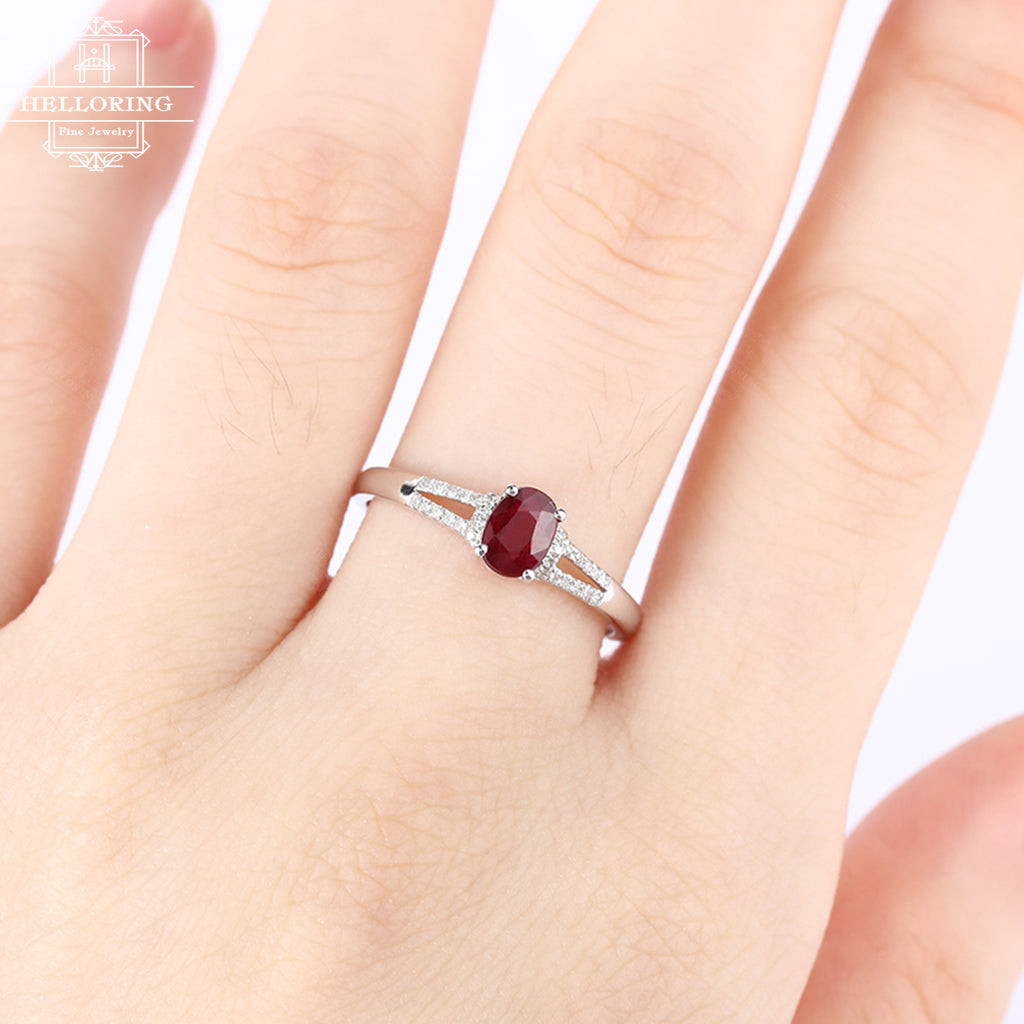 Ruby engagment ring oval women vintage diamond wedding antique act deco birthstone Bridal set Jewelry Christmas gift Anniversary for her