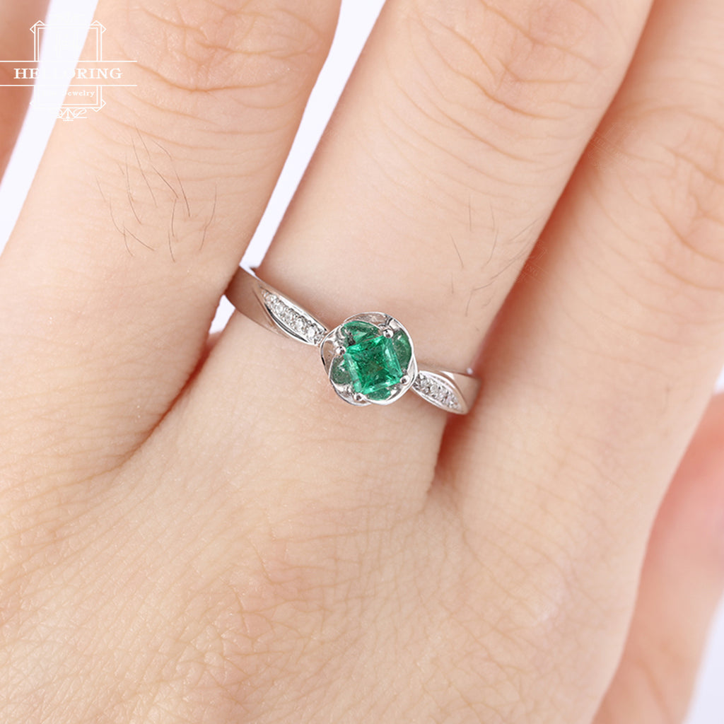 Princess cut engagment ring Emerald Flower women vintage diamond wedding antique act deco birthstone Bridal Jewelry Christmas gift for her