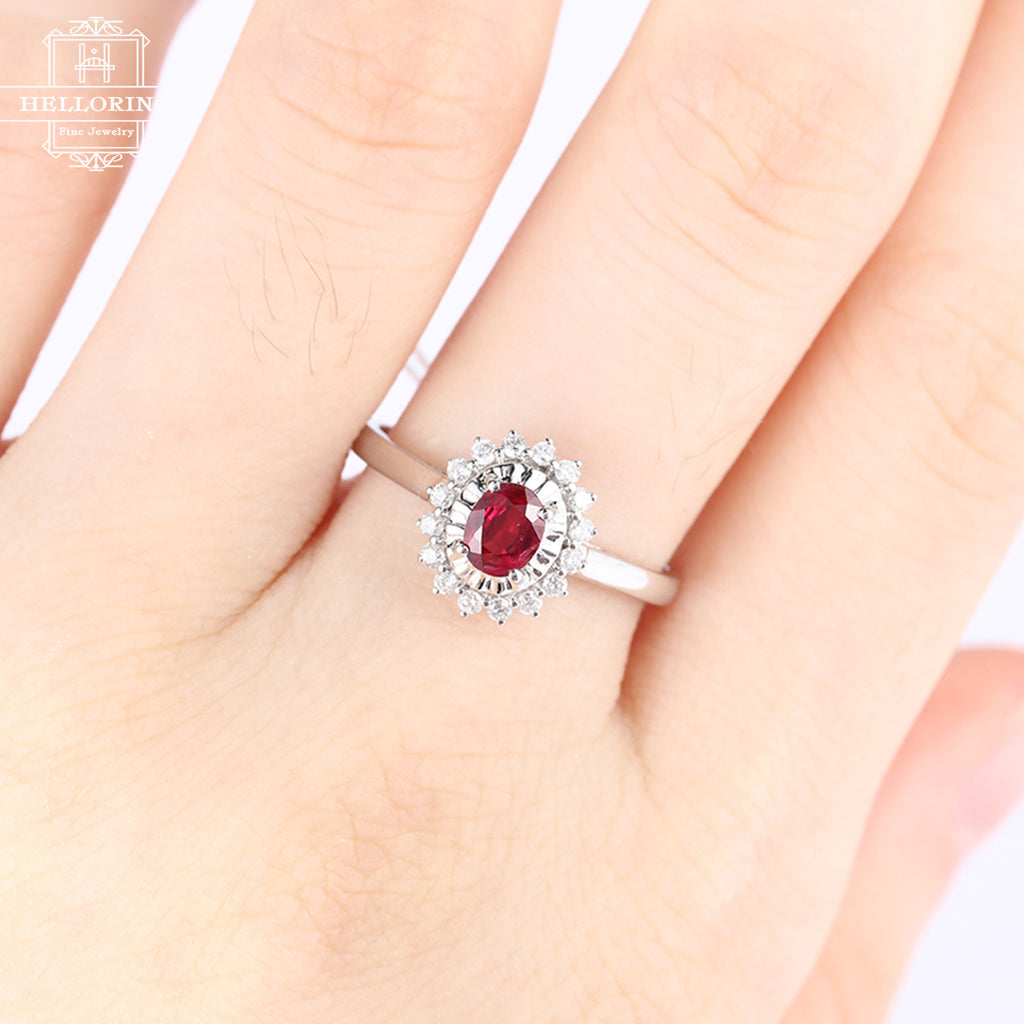 Ruby engagment ring vintage women Cluster diamond wedding ring antique act deco Flower birthstone Bridal Jewelry Christmas gift Anniversary
