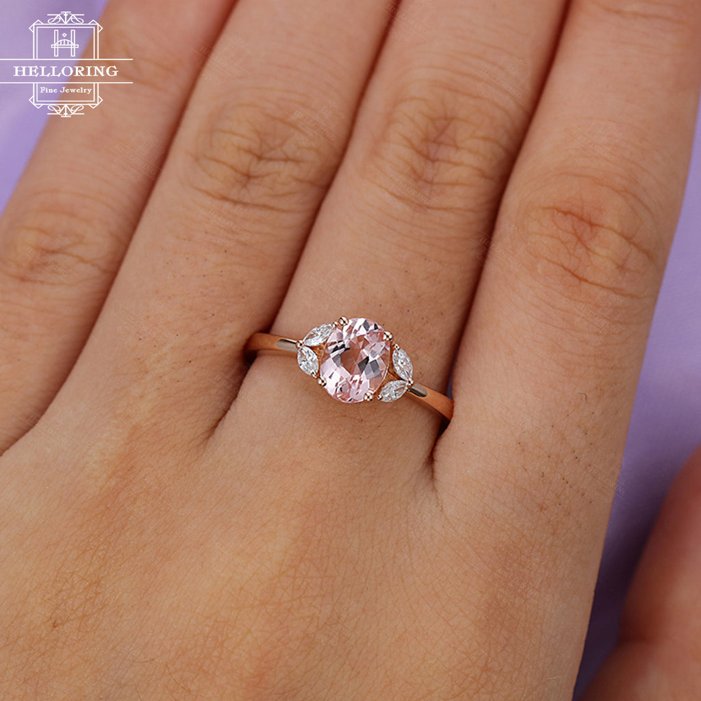 Oval Morganite engagement ring Rose gold Marquise cut Diamond Women Wedding Bridal ring Jewelry Anniversary Gift for her Unique Five stones