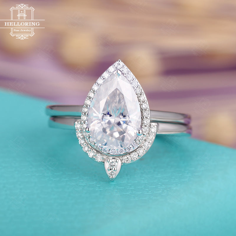 Moissanite engagement ring Vintage Pear Shaped Diamond Wedding band Curved white gold Women Halo Stacking Anniversary gift for her Jewelry