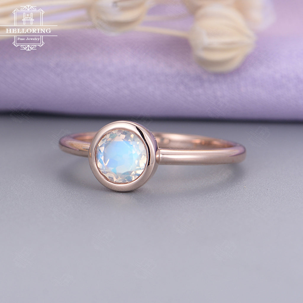 Minimalist engagement ring rose gold Blue Moonstone simple Rose engagement ring bezel set Dainty Bridal Jewelry Birthstone Anniversary gift