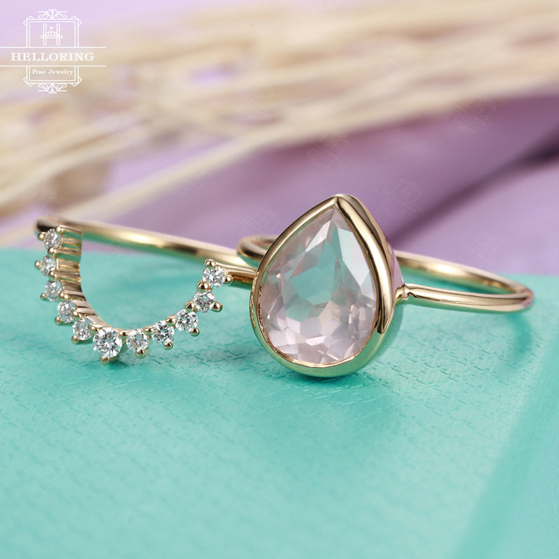 Rose quartz engagement ring Rose gold Diamond wedding band Women Curved Chevron Pear shaped cut Bridal set Jewelry Anniversary gift for her