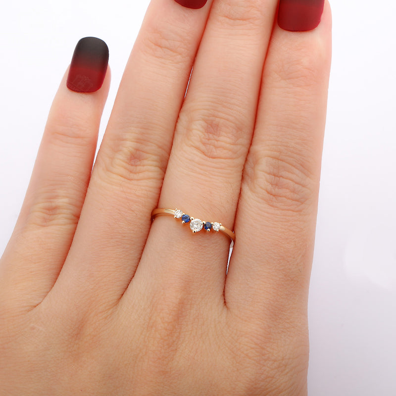 Sapphire Curved wedding band women Dainty Diamond bridal Alternative Chevron Unique Promise Stacking Birthstone Jewelry Matching band