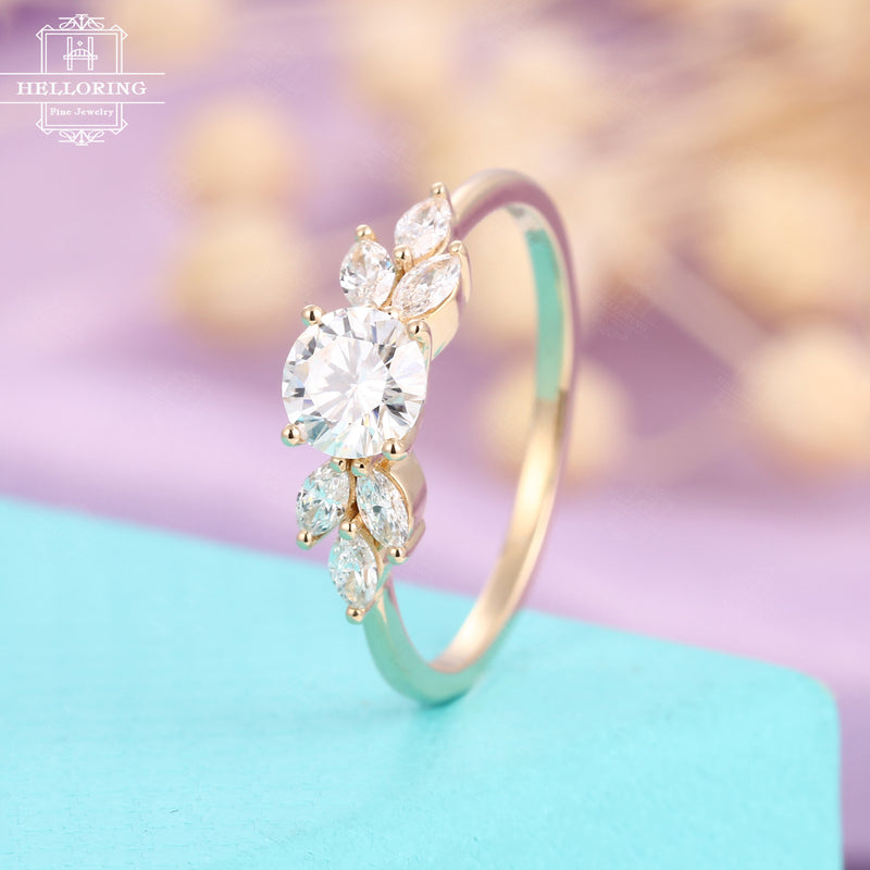 Moissanite engagement ring rose gold, Marquise shaped diamond wedding ring for women, unique jewelry,bridal ring, Anniversary gifts for her