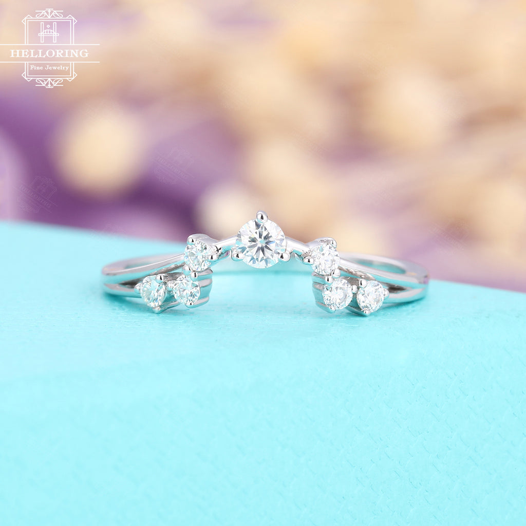 Unique Diamond Wedding Band White Gold Curved Wedding Ring For Women Helloringjewelry