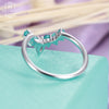 Curved wedding band with a pear shaped diamond and Turquoise in solid 14k white gold Matching Stacking Unique Promise Jewelry Gifts for her