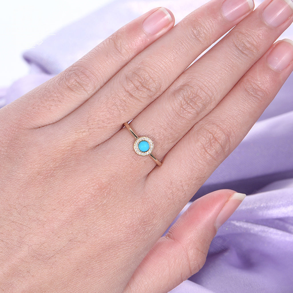 Turquoise Engagement Ring Alternative Halo diamond wedding 14k gold Antique Unique women vintage Flower turquoise jewelry Anniversary Gift