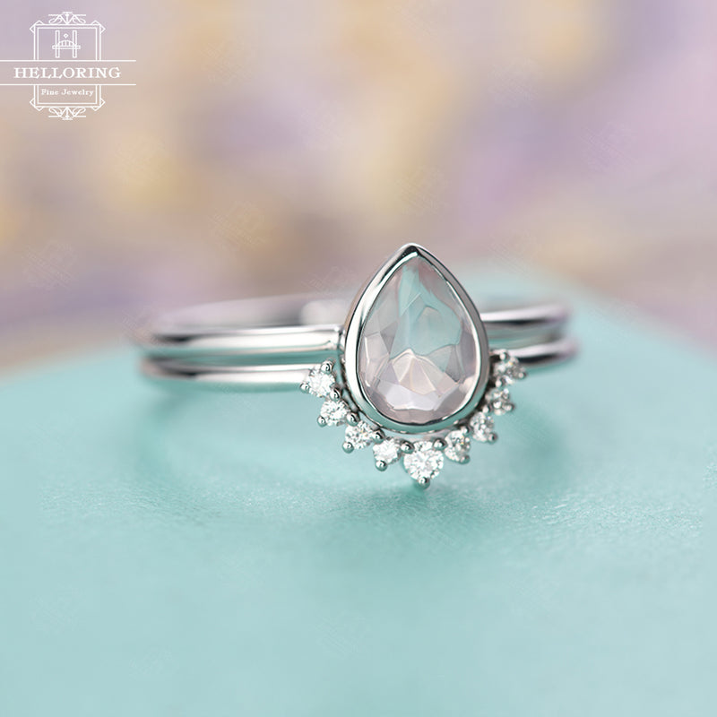 Rose Quartz Engagement Ring Curved wedding band Women Diamond Bridal set jewelry Pear Shaped Stacking Promise Anniversary Christmas gift