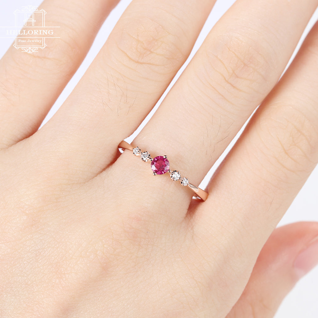 Rose Gold ruby engagement Ring diamond Unique delicate matching simple jewelry women Anniversary Bridal set gift for her Promise ring