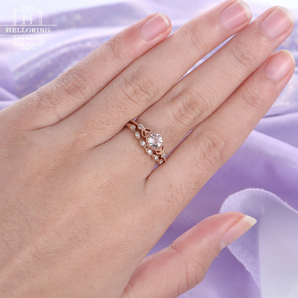 Morganite engagement ring rose gold engagement ring vintage Art deco Antique diamond wedding ring women Bridal set Jewelry Anniversary gift