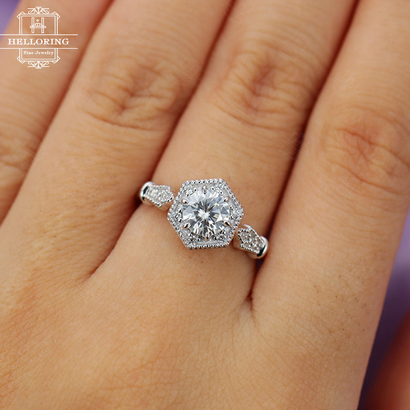 Moissanite Engagement Ring Vintage Engagement Ring White gold Women Wedding Antique Unique Jewelry Diamond Anniversary gift for her Art deco