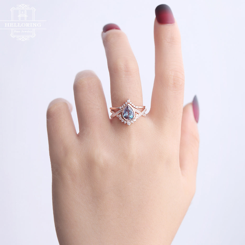 Alexandrite Engagement Ring Set Rose Gold Women Vintage Wedding