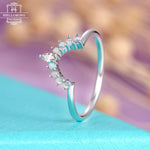 Curved wedding band rose gold women Marquise cut diamond Opal Unique wedding Jewelry Prong set Stacking Matching Anniversary gifts for her