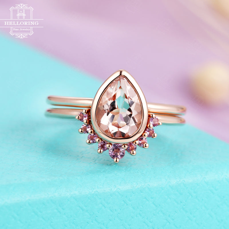 Morganite Engagement Ring Pear Shaped Vintage Rose Gold Amethyst Stacking Wedding band Women Simple Bridal set Jewelry Anniversary gift