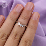 Diamond wedding band Curved wedding band Women Pear shaped Jewelry Unique Matching Bridal Anniversary gift for her Vintage Promise Chevron