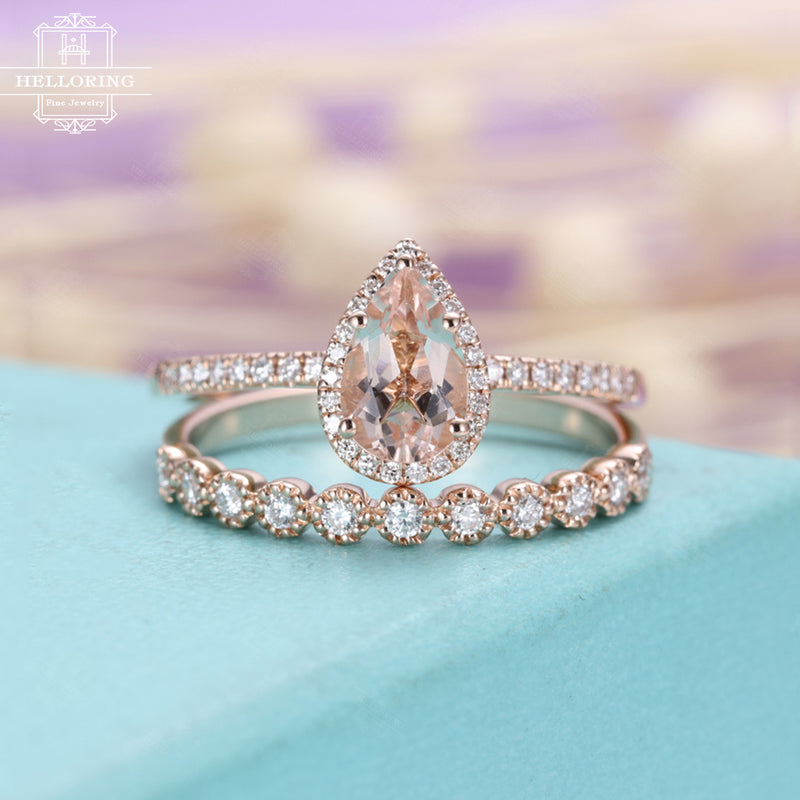 Morganite engagement ring Rose gold Diamond Wedding band Women Vintage Antique Milgrain Pear shaped Halo Bridal set Anniversary gift for her