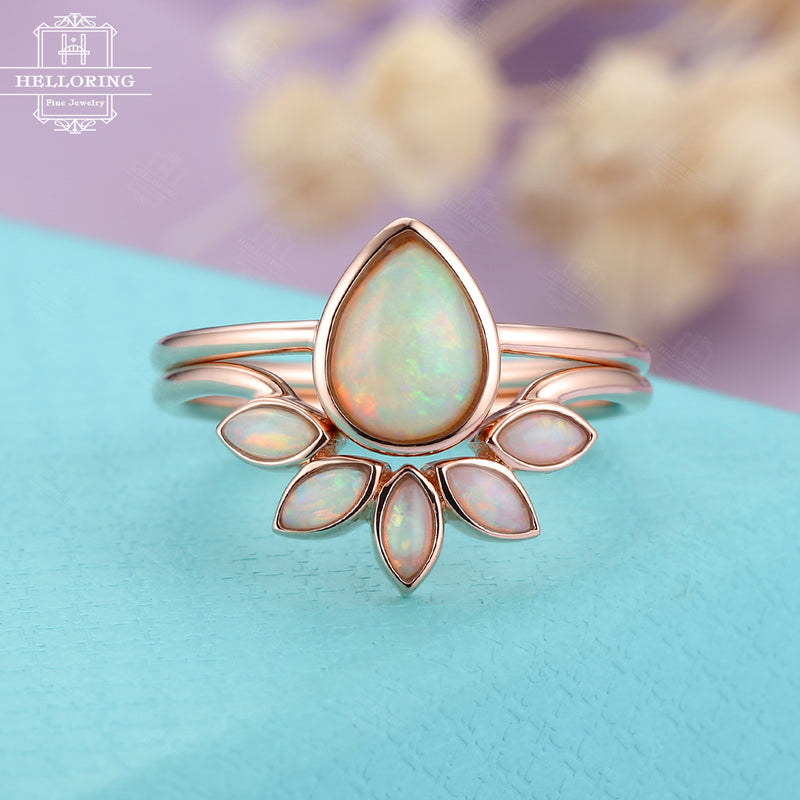 Opal engagement ring set rose gold, Pear shaped Marquise cut wedding ring women, Unique Bezel set jewelry, Anniversary gifts for her Promise