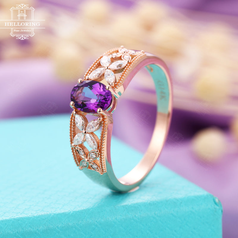 Vintage Oval Amethyst engagement ring,marquise moissanite wedding ring for women, Rose Gold ring,Bridal Jewelry Anniversary gift for her