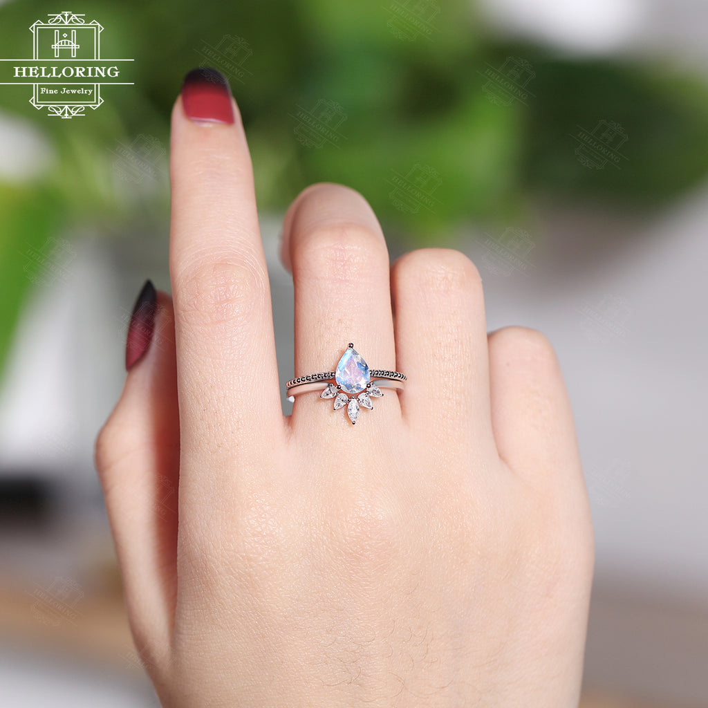 Moonstone engagement ring set white gold women Curved wedding band Diamond Moissanite Pear shaped Marquise Promise ring Anniversary gifts