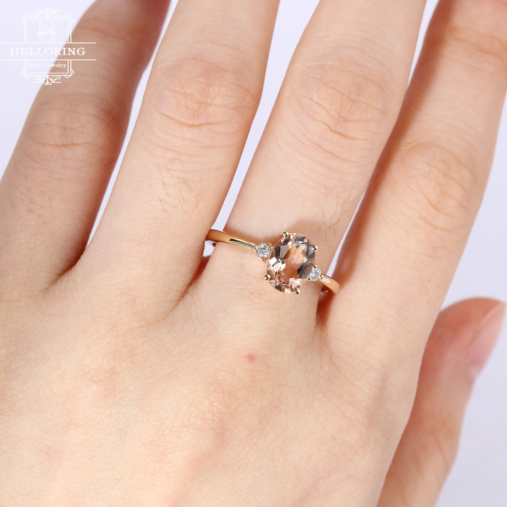 Morganite engagement ring 14K rose gold vintage Oval cut Cluster Bridal Jewelry antique Diamond wedding Stacking Promise Anniversary gift
