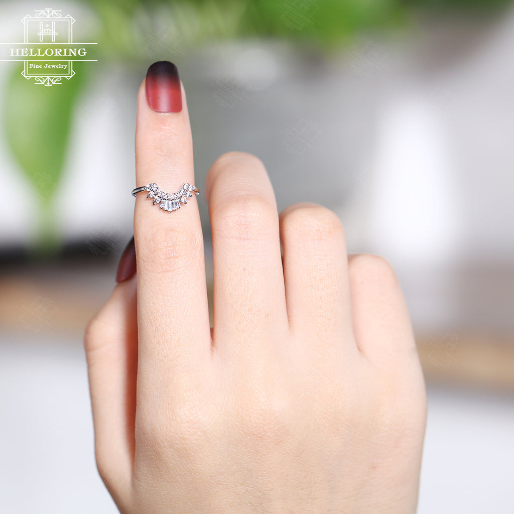 Moissanite engagement ring set Women, white gold,Curved Baguette Diamond ring,Unique Vintage wedding Jewelry Anniversary gifts for her