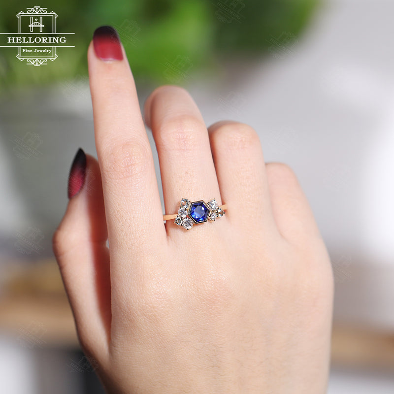 Sapphire engagement ring Rose gold Hexagon ring Women Wedding Unique Jewelry Vintage style promise Anniversary gift for her