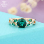 Emerald engagement ring Rose gold Women Wedding Marquise cut Unique ring Jewelry Anniversary gift for her Twisted band Prong set Five stones