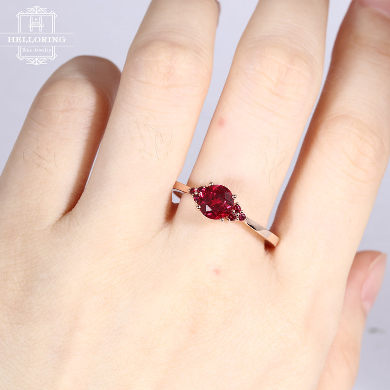 Ruby engagement ring rose gold Unique cluster engagement ring Seven Stone Mini Alternative Birthstone Bridal Anniversary gift for women