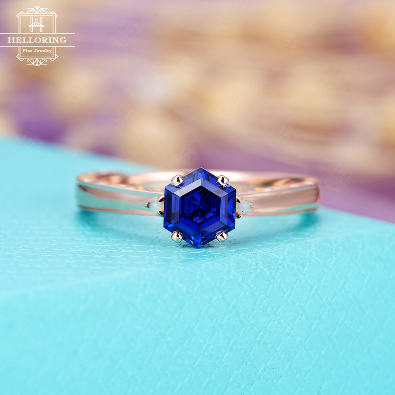 Vintage Sapphire engagement ring, Hexagon rose gold engraving ring Women,Unique opal Wedding Jewelry Delicate promise Anniversary gift