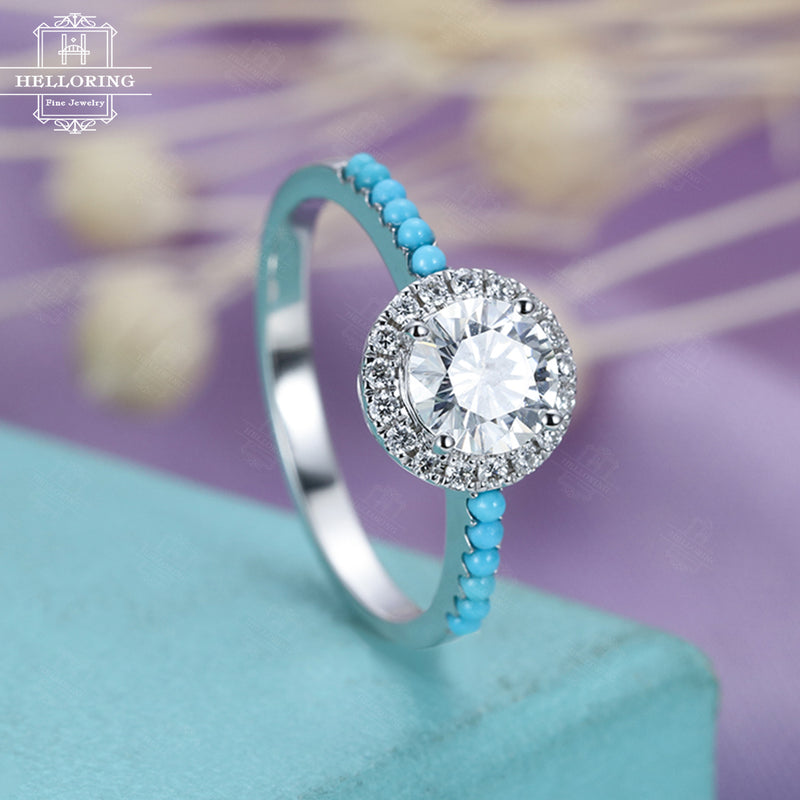 Moissanite engagement ring White gold Women Wedding Halo Diamond Turquoise Half eternity Micro pave Unique Jewelry Anniversary gift for her
