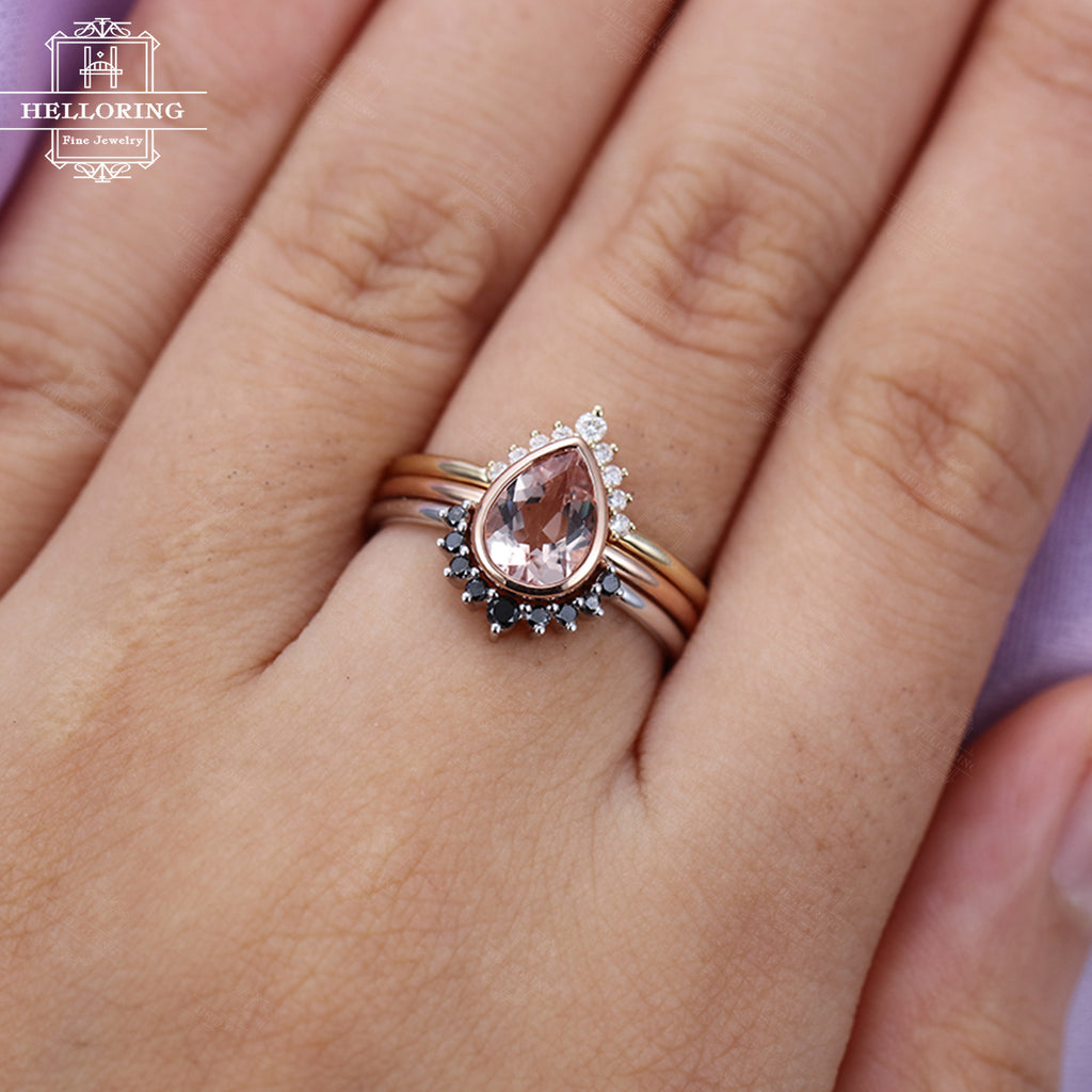 3PCs Morganite engagement ring Rose gold Black diamond Wedding band White gold Curved Pear shaped Unique Bridal set Jewelry Gift for women