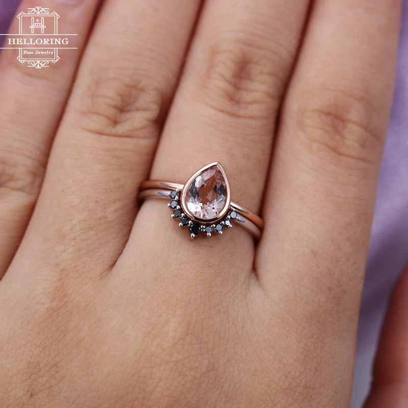 Pear shaped Morganite engagement ring set rose gold Curved wedding band Women Black diamond Unique jewelry Anniversary gift for her Promise