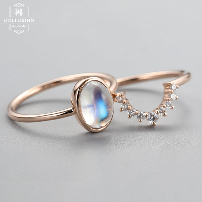 Moonstone engagement ring Rose gold Diamond wedding band Women Oval cut Vintage Antique Unique Bridal set Jewelry Anniversary gift for her