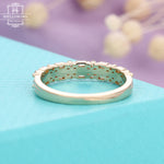 Diamond wedding band Women Baguette cut Stacking Matching Vintage Unique Jewelry Anniversary gift for her Half Eternity Micro pave Promise